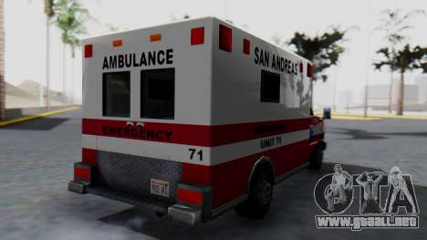 Ambulance with Lightbars para GTA San Andreas left
