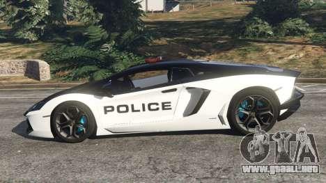 GTA 5 Lamborghini Aventador LP700-4 Police v3.5 vista lateral izquierda