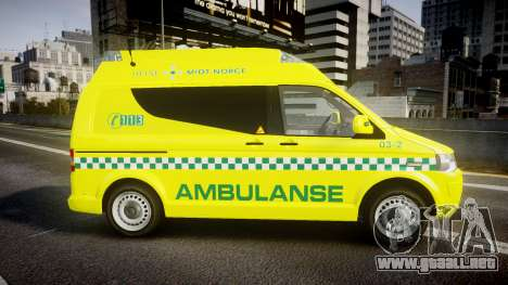 Volkswagen Transporter Norwegian Ambulance [ELS] para GTA 4 left