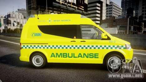 Volkswagen Transporter Norwegian Ambulance [ELS] para GTA 4 left