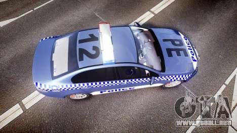 Ford Falcon FG XR6 Turbo NSW Police [ELS] para GTA 4 visión correcta