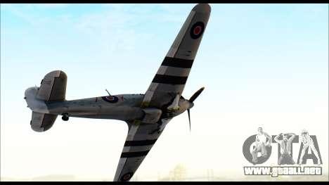Hawker Hurricane MK IA para GTA San Andreas vista posterior izquierda