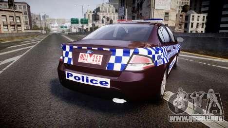 Ford Falcon FG XR6 Turbo NSW Police [ELS] v3.0 para GTA 4 Vista posterior izquierda