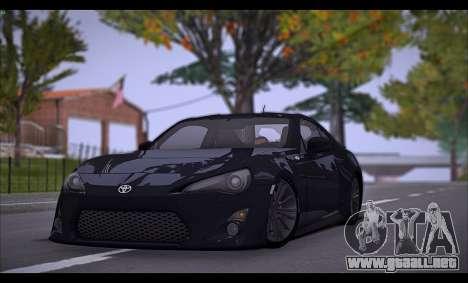Toyota GT86 2012 BUFG Edition para GTA San Andreas vista posterior izquierda