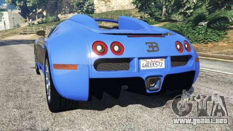 GTA 5 Bugatti Veyron Grand Sport vista lateral izquierda trasera