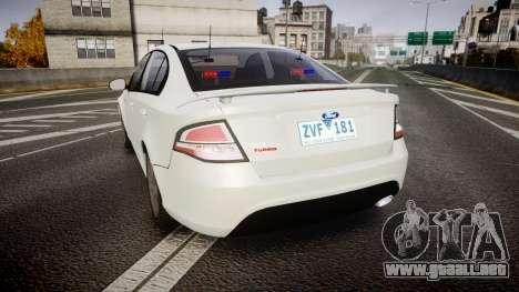 Ford Falcon FG XR6 Turbo Unmarked Police [ELS] para GTA 4 Vista posterior izquierda