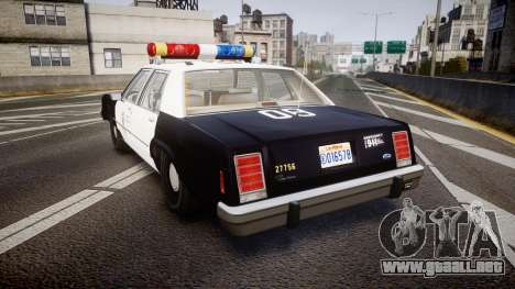 Ford LTD Crown Victoria 1987 LAPD [ELS] para GTA 4 Vista posterior izquierda