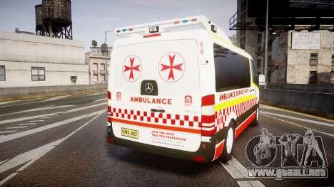 Mercedes-Benz Sprinter NSW Ambulance [ELS] para GTA 4 Vista posterior izquierda