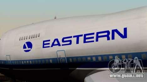 Boeing 747 Eastern para GTA San Andreas vista hacia atrás