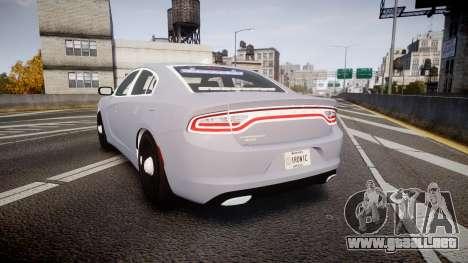 Dodge Charger 2015 Unmarked [ELS] para GTA 4 Vista posterior izquierda