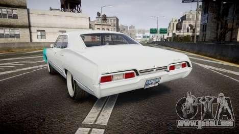 Chevrolet Impala 1967 Custom livery 1 para GTA 4 Vista posterior izquierda