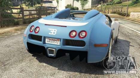 GTA 5 Bugatti Veyron Grand Sport v2.0 vista lateral izquierda trasera