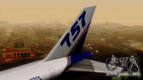 Boeing 757-200 (N757A) para GTA San Andreas vista posterior izquierda