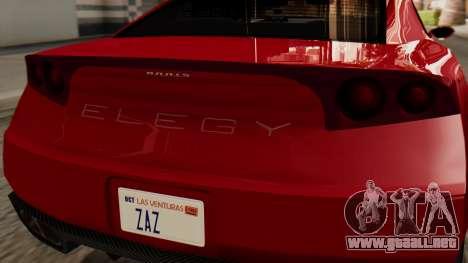 GTA 5 Annis Elegy RH8 IVF para GTA San Andreas vista hacia atrás