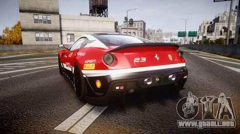 Ferrari 599XX 2010 Scuderia Ferrari para GTA 4 Vista posterior izquierda