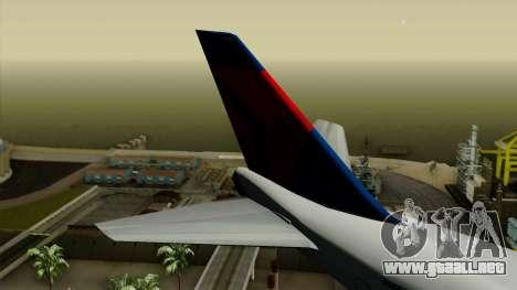 Boeing 747 Delta para GTA San Andreas vista posterior izquierda