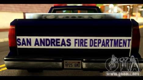 FDSA Brush Patrol Car para GTA San Andreas vista posterior izquierda