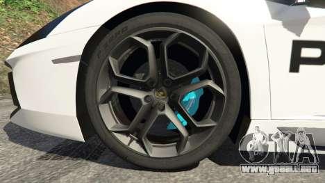 GTA 5 Lamborghini Aventador LP700-4 Police vista lateral trasera derecha