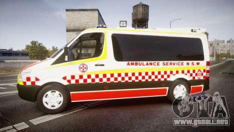 Mercedes-Benz Sprinter NSW Ambulance [ELS] para GTA 4 left