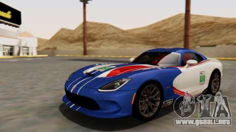 Dodge Viper SRT GTS 2013 HQLM (HQ PJ) para vista lateral GTA San Andreas