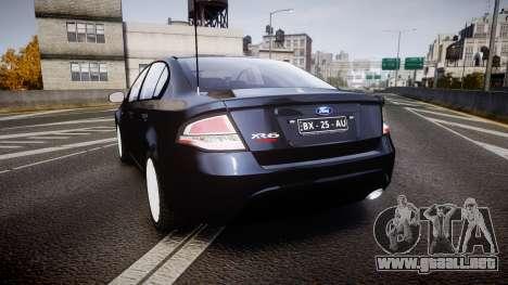 Ford Falcon FG XR6 Unmarked Police [ELS] v2.0 para GTA 4 Vista posterior izquierda
