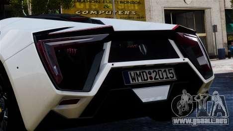 Lykan Hypersport 2015 EPM para GTA 4 vista hacia atrás
