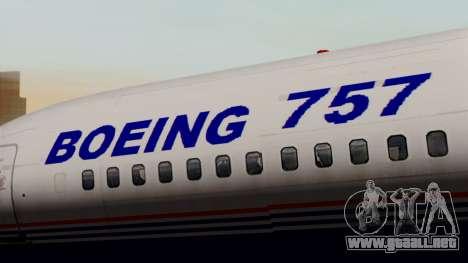 Boeing 757-200 (N757A) para GTA San Andreas vista hacia atrás