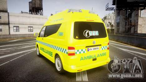 Volkswagen Transporter Norwegian Ambulance [ELS] para GTA 4 Vista posterior izquierda