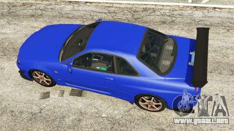 GTA 5 Nissan Skyline R34 GT-R 2002 v0.8 [Beta] vista trasera
