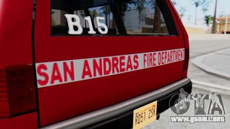 FDSA Fire SUV para la visión correcta GTA San Andreas