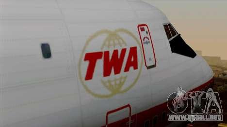 Boeing 747 TWA para GTA San Andreas vista hacia atrás