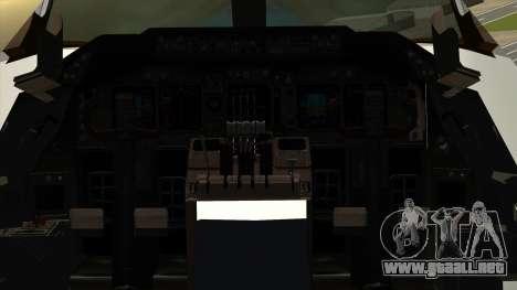 Boeing 747 Delta para GTA San Andreas vista hacia atrás