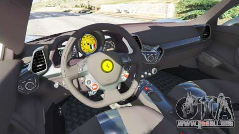 GTA 5 Ferrari 458 Italia v1.0.4 vista lateral trasera derecha