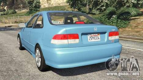GTA 5 Honda Civic Si 1999 v1.1 vista lateral izquierda trasera