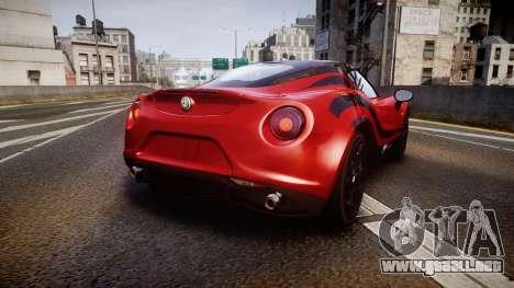 Alfa Romeo 4C 2014 WTCC Safety Car para GTA 4 Vista posterior izquierda