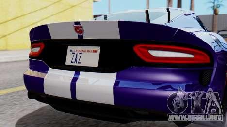 Dodge Viper SRT GTS 2013 HQLM (HQ PJ) para GTA San Andreas vista hacia atrás