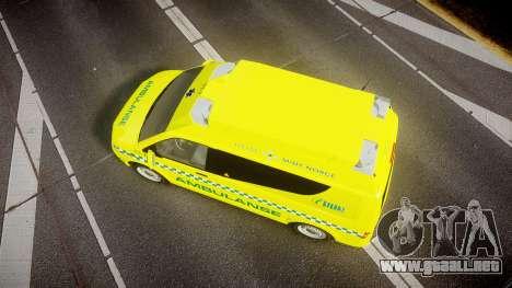 Volkswagen Transporter Norwegian Ambulance [ELS] para GTA 4 visión correcta
