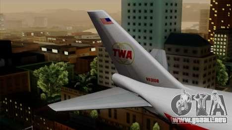 Boeing 747 TWA para GTA San Andreas vista posterior izquierda