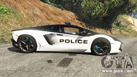 GTA 5 Lamborghini Aventador LP700-4 Police vista lateral izquierda
