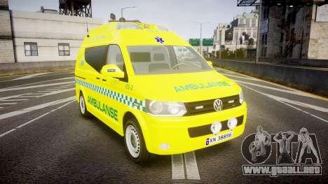 Volkswagen Transporter Norwegian Ambulance [ELS] para GTA 4
