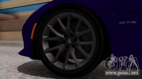 Dodge Viper SRT GTS 2013 HQLM (HQ PJ) para GTA San Andreas vista posterior izquierda