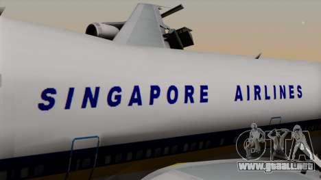 Boeing 747 Singapore (Old) para GTA San Andreas vista hacia atrás