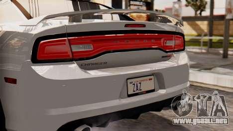 Dodge Charger SRT8 2012 LD para GTA San Andreas vista hacia atrás