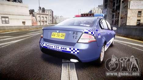 Ford Falcon FG XR6 Turbo NSW Police [ELS] para GTA 4 Vista posterior izquierda