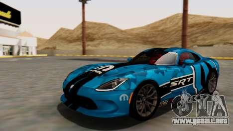 Dodge Viper SRT GTS 2013 HQLM (HQ PJ) para vista inferior GTA San Andreas