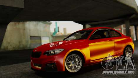 BMW M235i F22 Sport 2014 para GTA San Andreas vista posterior izquierda