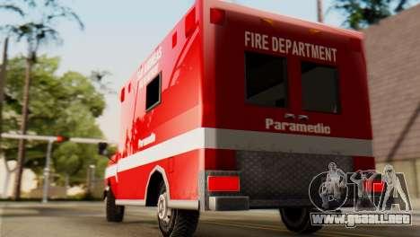 SAFD Ambulance para GTA San Andreas vista posterior izquierda