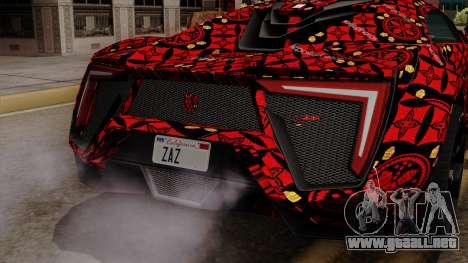 Lykan Hypersport Batik para GTA San Andreas vista hacia atrás