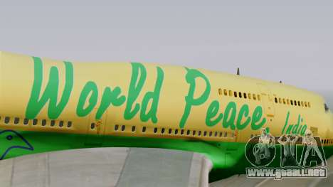 Boeing 747-400 World Peace para GTA San Andreas vista hacia atrás