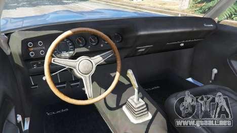 GTA 5 Plymouth Barracuda 1970 vista lateral trasera derecha
